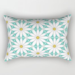 Daisy Hex - Turquoise Rectangular Pillow