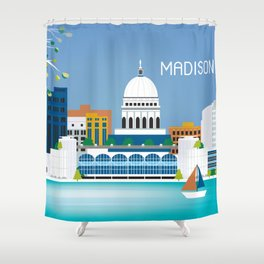 Madison, Wisconsin - Skyline Illustration by Loose Petals Shower Curtain