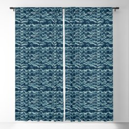 SHIBORI inspired tie-dye in blue Blackout Curtain