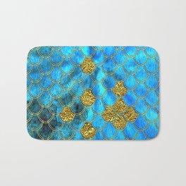Blue Aqua Turquoise And Gold Glitter Mermaid Scales -Beautiful Mermaidscales Pattern Bath Mat