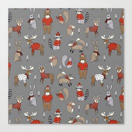 Christmas winter woodland animals foxes deer bunnies moose holiday cute design Canvas Print