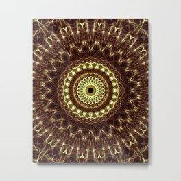 Detailed mandala in brown and golden tones Metal Print