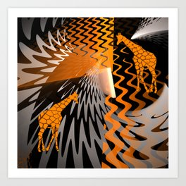 bstract waves and Zebra Art Print