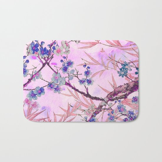 little blue flowers and pink leaves Bath Mat