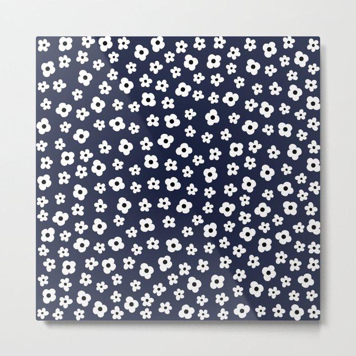 Blue White Spring Flower Pattern Metal Print