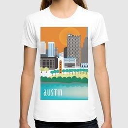 Austin, Texas - Skyline Illustration by Loose Petals T-shirt