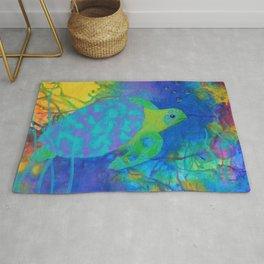 Whimsical Sea Turtle in Jewel Tone Colors Rug