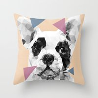 frenchie Throw Pillows featuring Frenchie by Esco