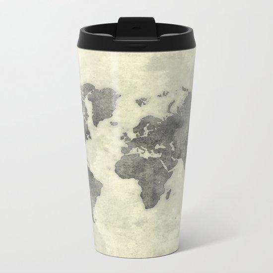 World Map Black Vintage Metal Travel Mug
