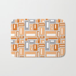 Simple Geometric Pattern in Peach and Gray Bath Mat