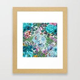 Teal Floral Collage Framed Art Print