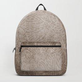 Beautiful ethnic mandala on neutral rustic texture Backpack