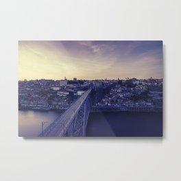 Porto across the bridge. Metal Print