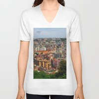skyline V-neck T-shirts featuring Skyline by Amy Taylor