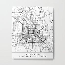 HOUSTON TEXAS BLACK CITY STREET MAP ART Metal Print