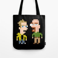 jesse pinkman Tote Bags featuring Mr White & Jesse Pinkman by HypersVE