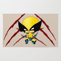chibi Area & Throw Rugs featuring Chibi Wolverine by artwaste