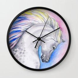 Rainbow Arabian Horse watercolor Art Wall Clock