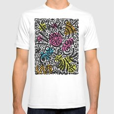 ABSTRACT 013 MEDIUM White Mens Fitted Tee