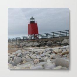 Charlevoix Lighthouse On the Rocks Metal Print