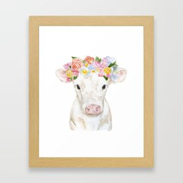 White Calf with Floral Crown Framed Art Print
