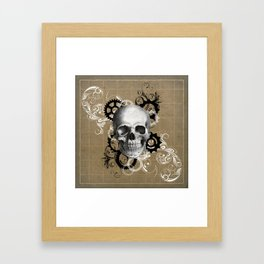Skull With Gears and Floral Ornaments Framed Art Print