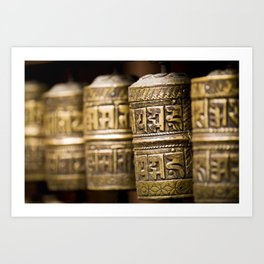 Tibetan Prayer Wheel Nepal Temple Art Print