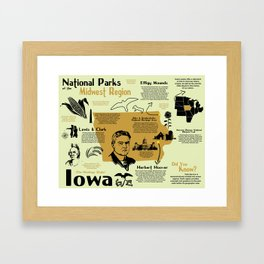 Iowa National Parks Infographic Map Framed Art Print