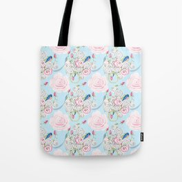 Shabby Chic Bluebirds and Watercolor Roses on pale blue Tote Bag