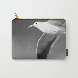 Flying seagull in black and white Carry-All Pouch