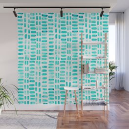 Abstract rectangles - turquoise Wall Mural