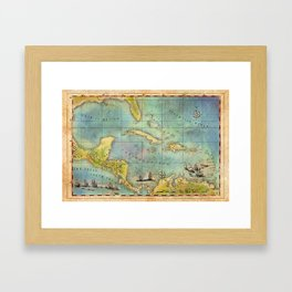 Caribbean Pirate + Treasure Map 1660 (Colored) Framed Art Print