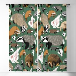 Eurasian badgers pattern Green Blackout Curtain
