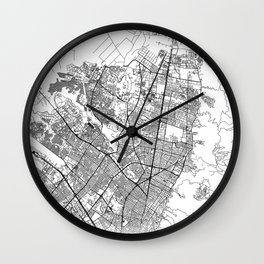 Bogota City Map Colombia White and Black Wall Clock