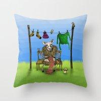 sheep Throw Pillows featuring Sheep by Anna Shell