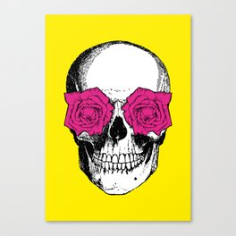 Skull and Roses | Yellow and Pink Canvas Print