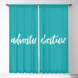 Adventure Calligraphy Travel Lettering Teal Blackout Curtain