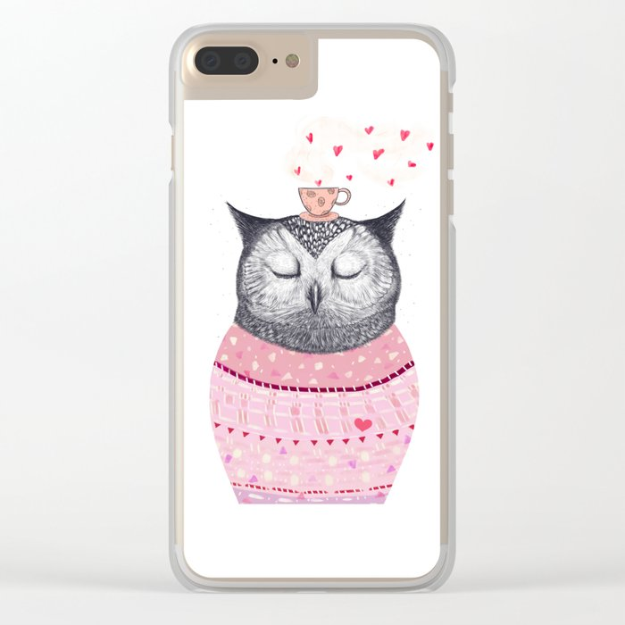 Owl lover of coffee Clear iPhone Case