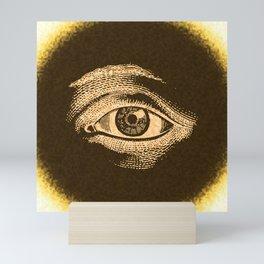 Grunge Vintage Eye Pattern Industrial Mini Art Print