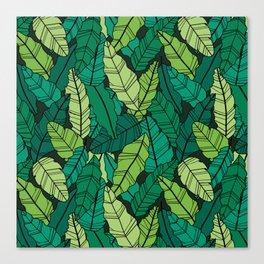 Green leaves line artwork Canvas Print