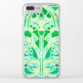 Art Nouveau Lime Green and Gold Batik Texture Clear iPhone Case