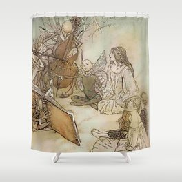 """Another Part of the Forest"" from Shakespeare by Arthur Rackham Shower Curtain"