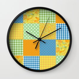 Golden Daffodils Faux Patchwork Wall Clock