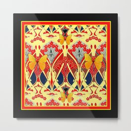 Ornate Black & Yellow Art Nouveau Butterfly Red Designs Metal Print