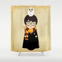 harry Shower Curtains featuring Kokeshi Harry  by Pendientera