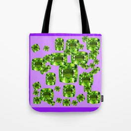 Green Peridot Birthstone Gems with Purple Color Accents Tote Bag