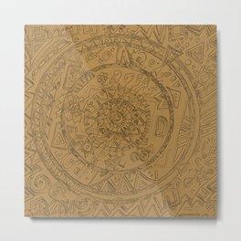 Gold Etching Metal Print