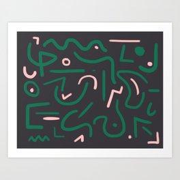 Green and pink doodles Art Print