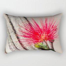 Red Bottle Brush Flower against Barn Wood Rectangular Pillow