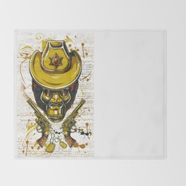 Monkey Cowboy Skull with Twin Guns Throw Blanket